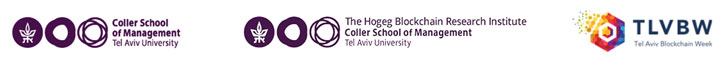 From the left: logos of Coller School, the Hogeg Blockchain Research Institute, TLVBW