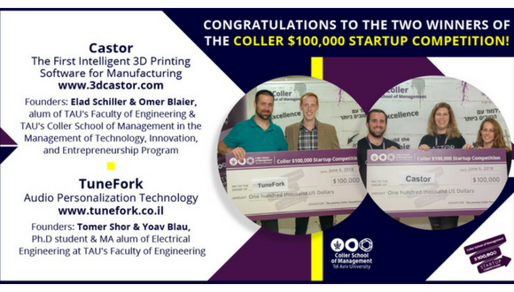 Two winners of the Coller $100,000 Startup Competition at Tel Aviv University