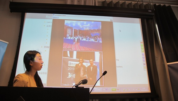 Screen shot - presenters (below), ZVCA investors in Beijing (above)