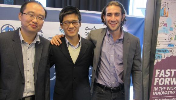MBA student organizers (left to right) Edwards You Lyu, Jobs Jun Zhou, and Lee Greene